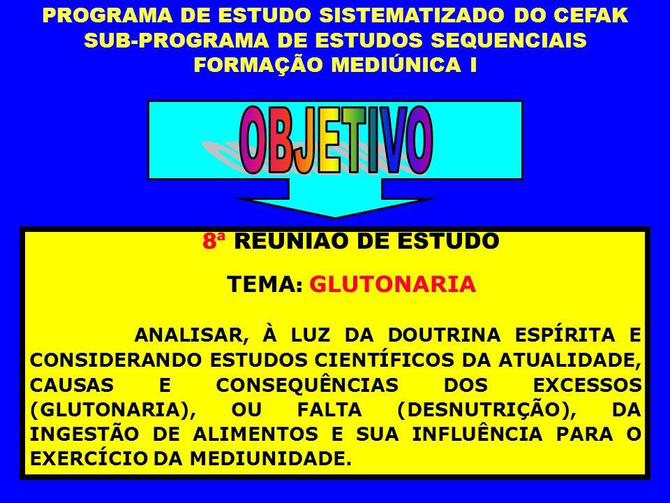 OBJETIVO 8ª REUNIÃO DE ESTUDO TEMA: GLUTONARIA