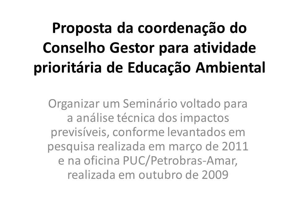 Proposta da coordenação do Conselho Gestor para atividade prioritária de Educação Ambiental