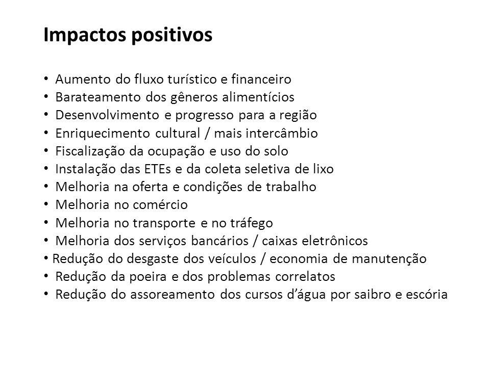 Impactos positivos Aumento do fluxo turístico e financeiro