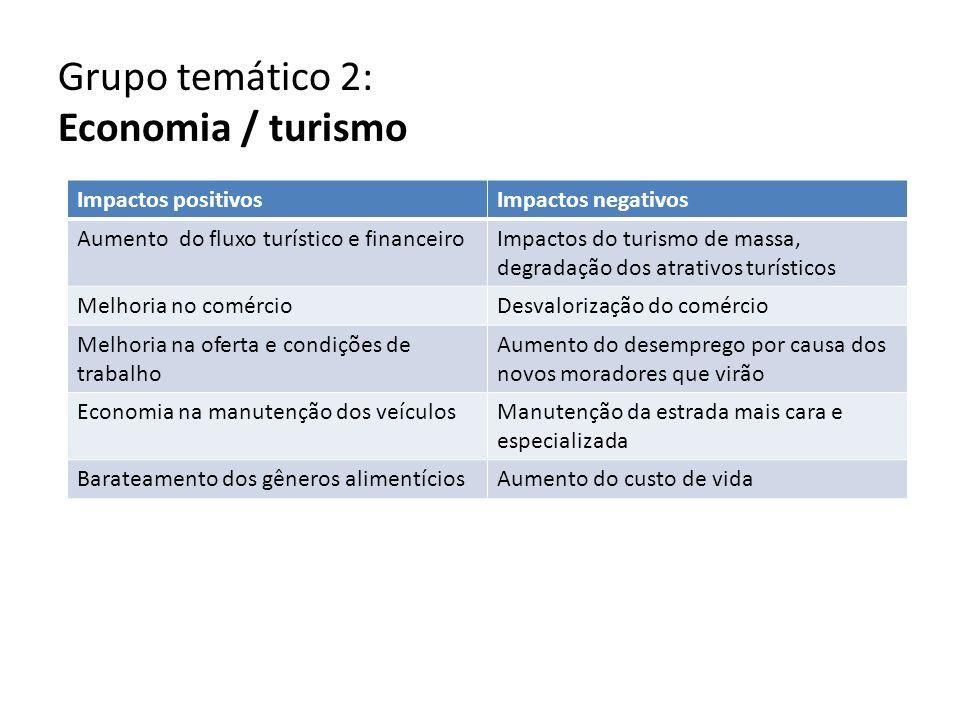 Grupo temático 2: Economia / turismo