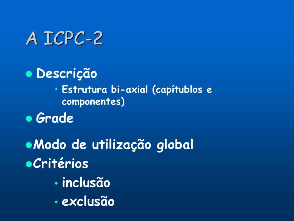 A ICPC-2 Descrição Grade Modo de utilização global Critérios inclusão