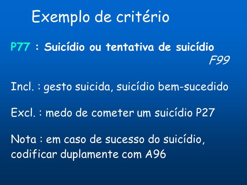 Exemplo de critério P77 : Suicídio ou tentativa de suicídio F99