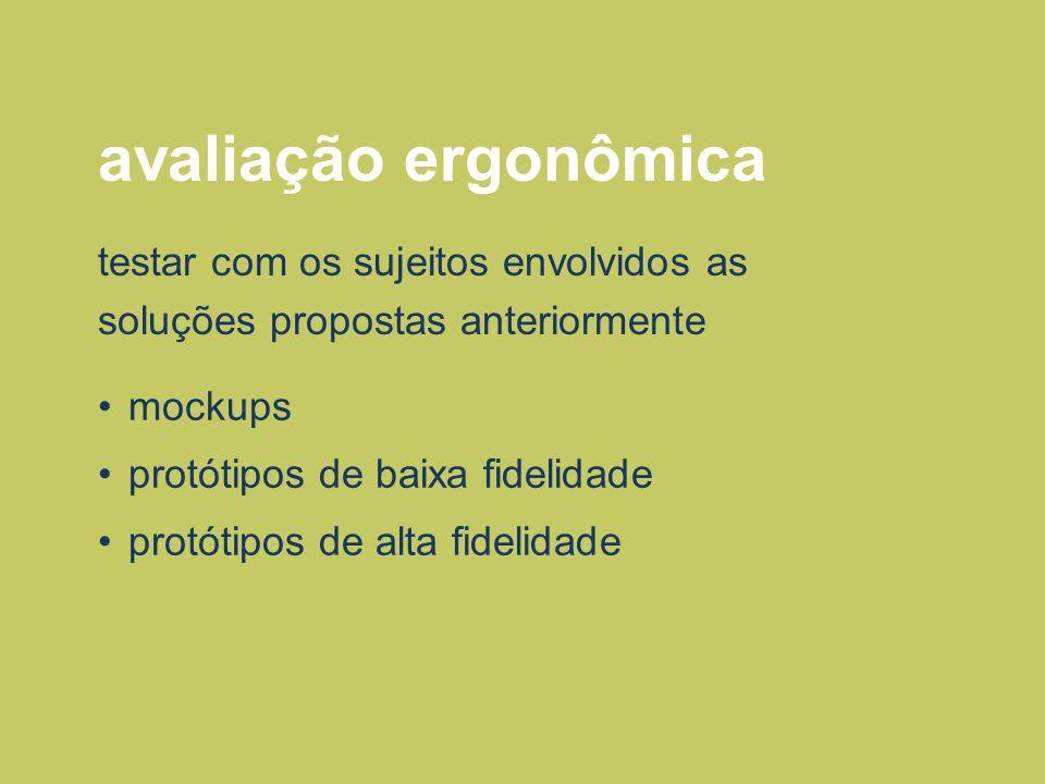 avaliação ergonômicatestar com os sujeitos envolvidos as soluções propostas anteriormente. mockups.