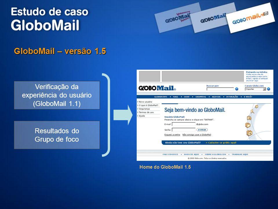 GloboMail – versão 1.5 Verificação da experiência do usuário (GloboMail 1.1) Resultados do Grupo de foco.