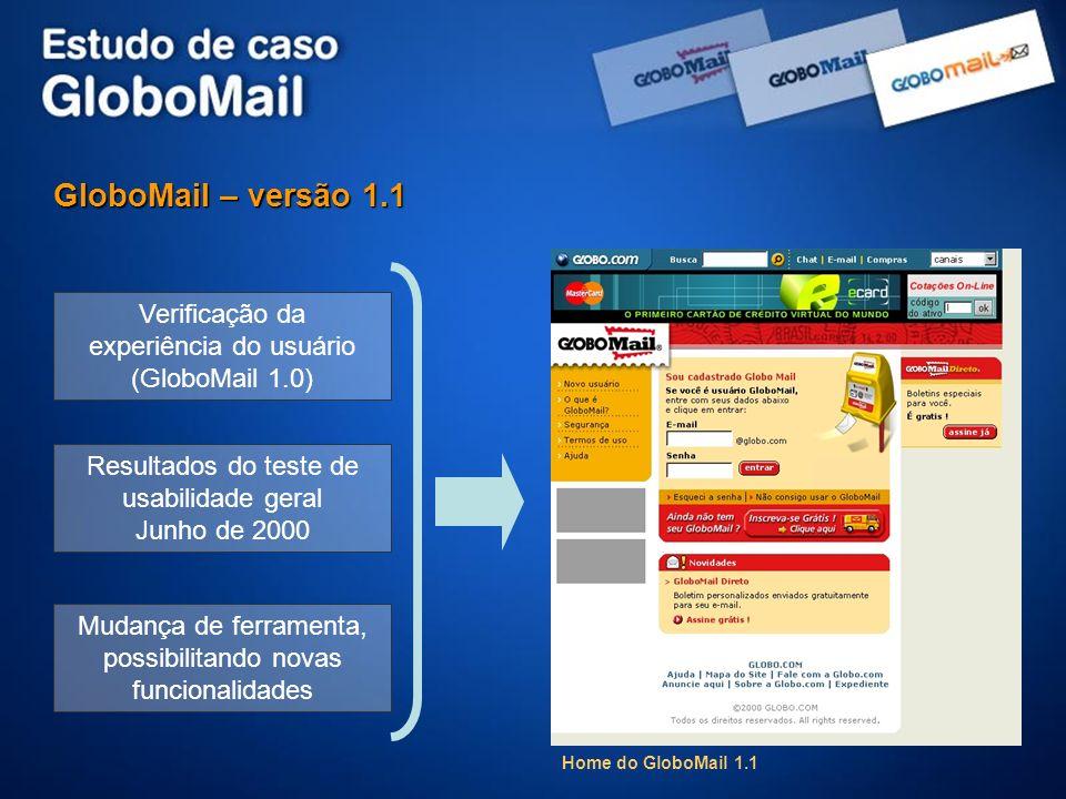 GloboMail – versão 1.1 Verificação da experiência do usuário (GloboMail 1.0) Resultados do teste de usabilidade geral.