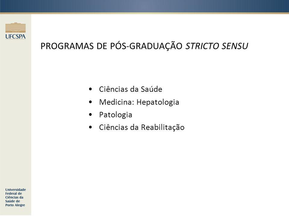 PROGRAMAS DE PÓS-GRADUAÇÃO STRICTO SENSU