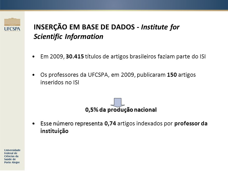 INSERÇÃO EM BASE DE DADOS - Institute for Scientific Information