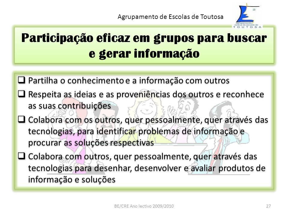 Participação eficaz em grupos para buscar e gerar informação