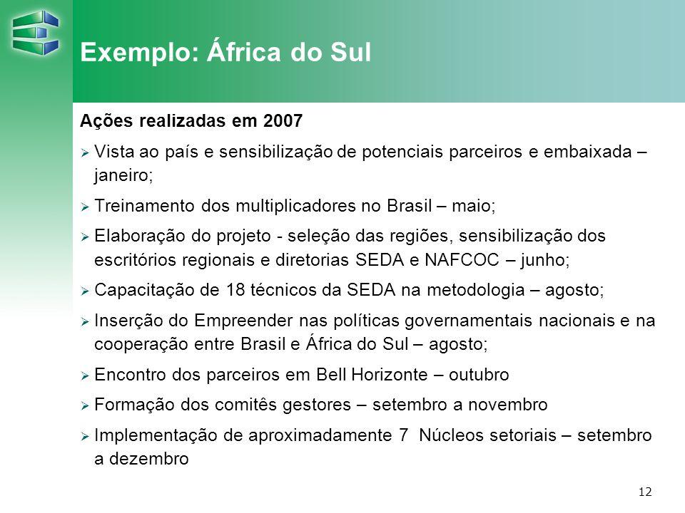 Exemplo: África do Sul Ações realizadas em 2007