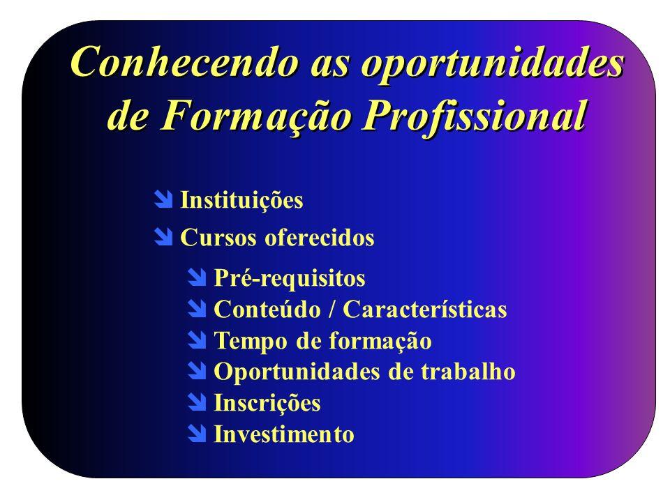 Conhecendo as oportunidades de Formação Profissional