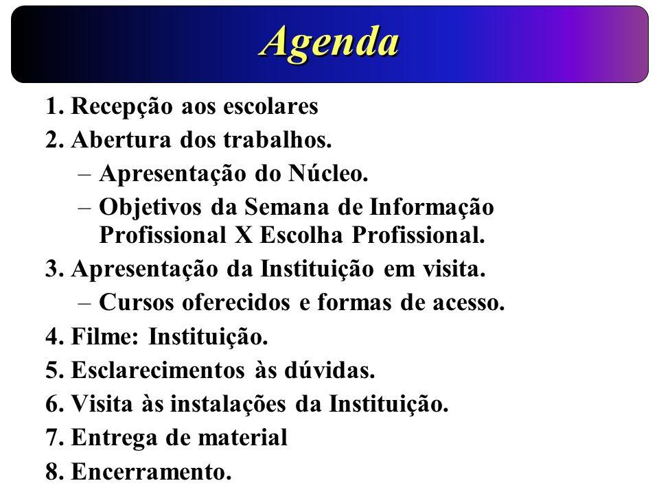 Agenda 1. Recepção aos escolares 2. Abertura dos trabalhos.