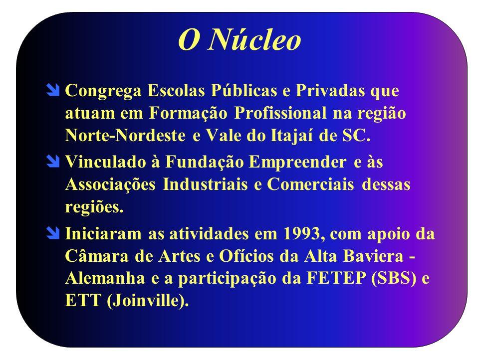 O Núcleo Congrega Escolas Públicas e Privadas que atuam em Formação Profissional na região Norte-Nordeste e Vale do Itajaí de SC.