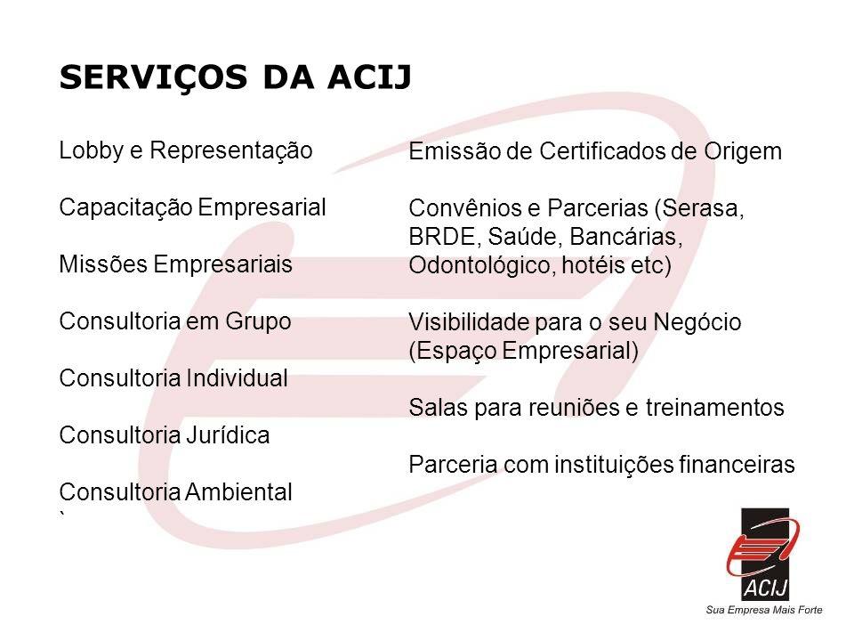 SERVIÇOS DA ACIJ Lobby e Representação Capacitação Empresarial