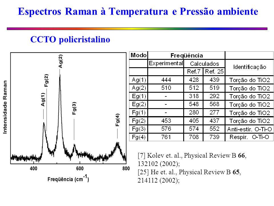 Espectros Raman à Temperatura e Pressão ambiente