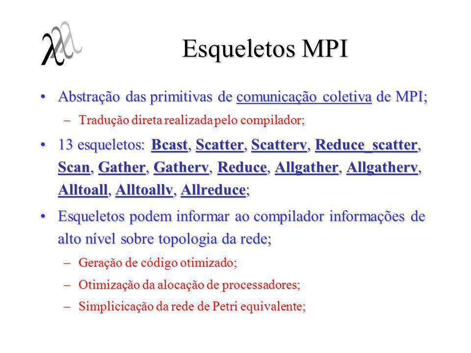 Esqueletos MPI Abstração das primitivas de comunicação coletiva de MPI; Tradução direta realizada pelo compilador;