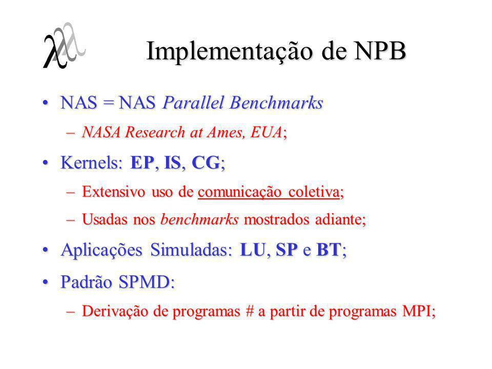 Implementação de NPB NAS = NAS Parallel Benchmarks