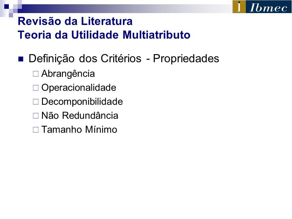 Revisão da Literatura Teoria da Utilidade Multiatributo