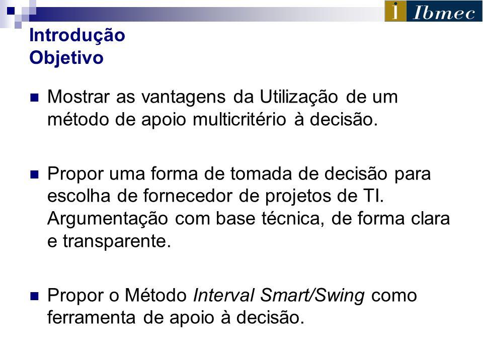 Introdução ObjetivoMostrar as vantagens da Utilização de um método de apoio multicritério à decisão.
