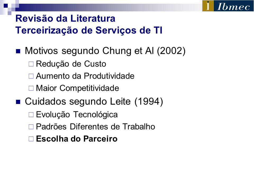 Revisão da Literatura Terceirização de Serviços de TI