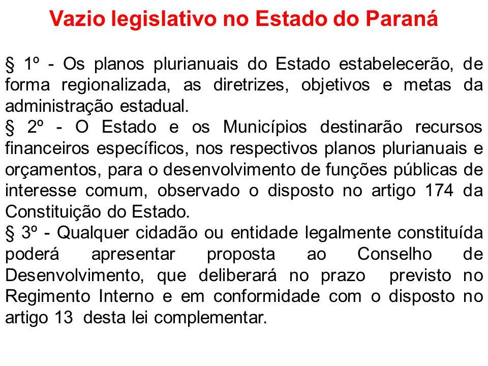 Vazio legislativo no Estado do Paraná