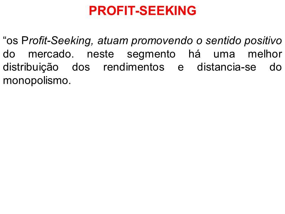 PROFIT-SEEKING os Profit-Seeking, atuam promovendo o sentido positivo