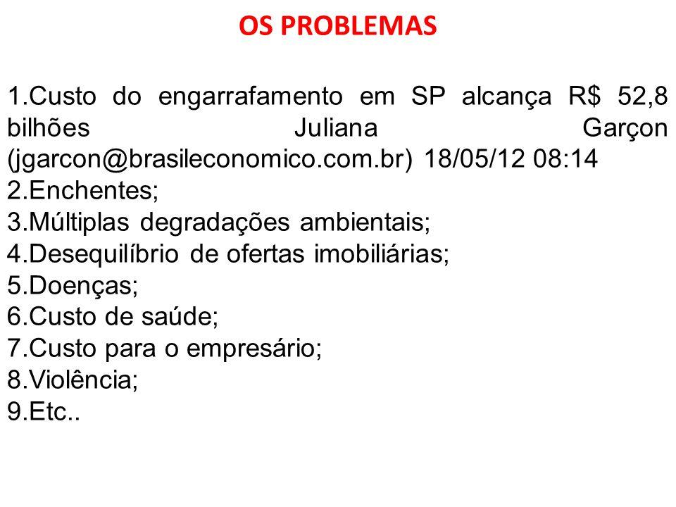 OS PROBLEMAS Custo do engarrafamento em SP alcança R$ 52,8 bilhões Juliana Garçon (jgarcon@brasileconomico.com.br) 18/05/12 08:14.