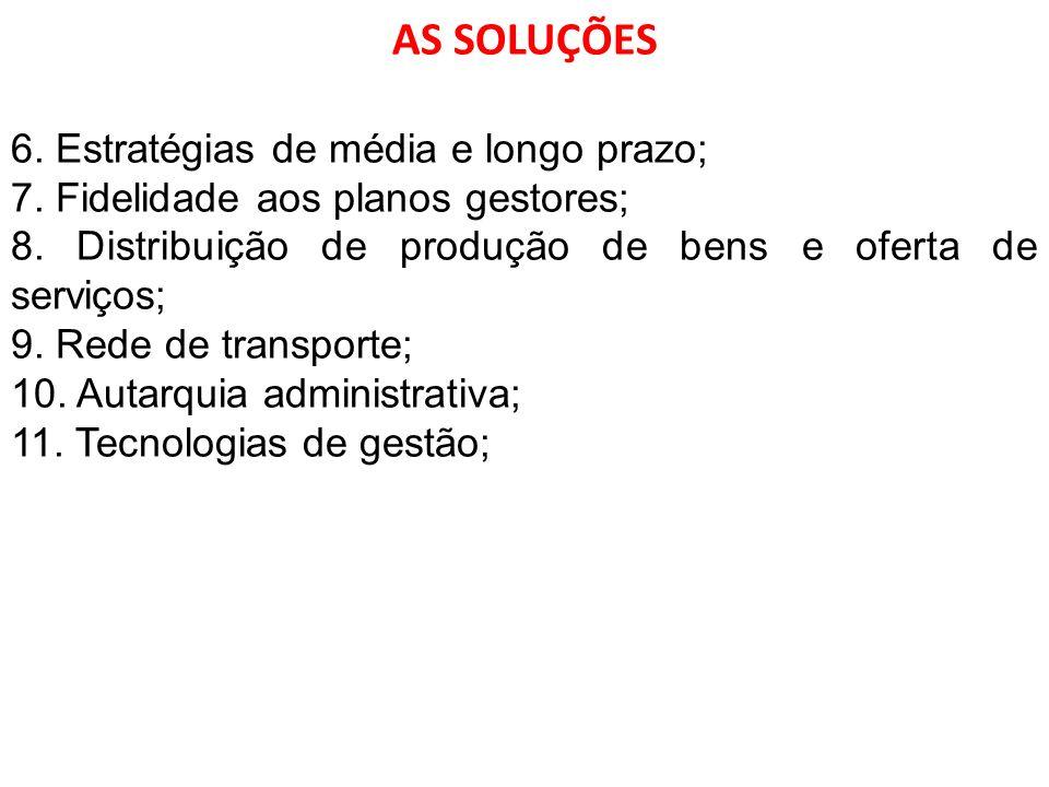 AS SOLUÇÕES 6. Estratégias de média e longo prazo;