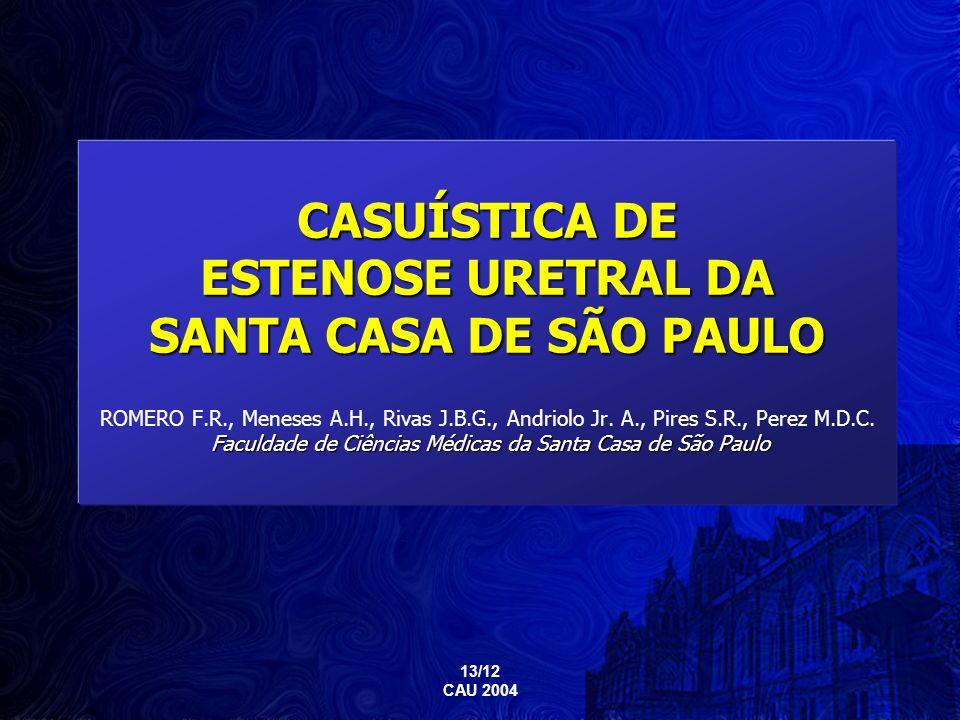 CASUÍSTICA DE ESTENOSE URETRAL DA SANTA CASA DE SÃO PAULO ROMERO F. R