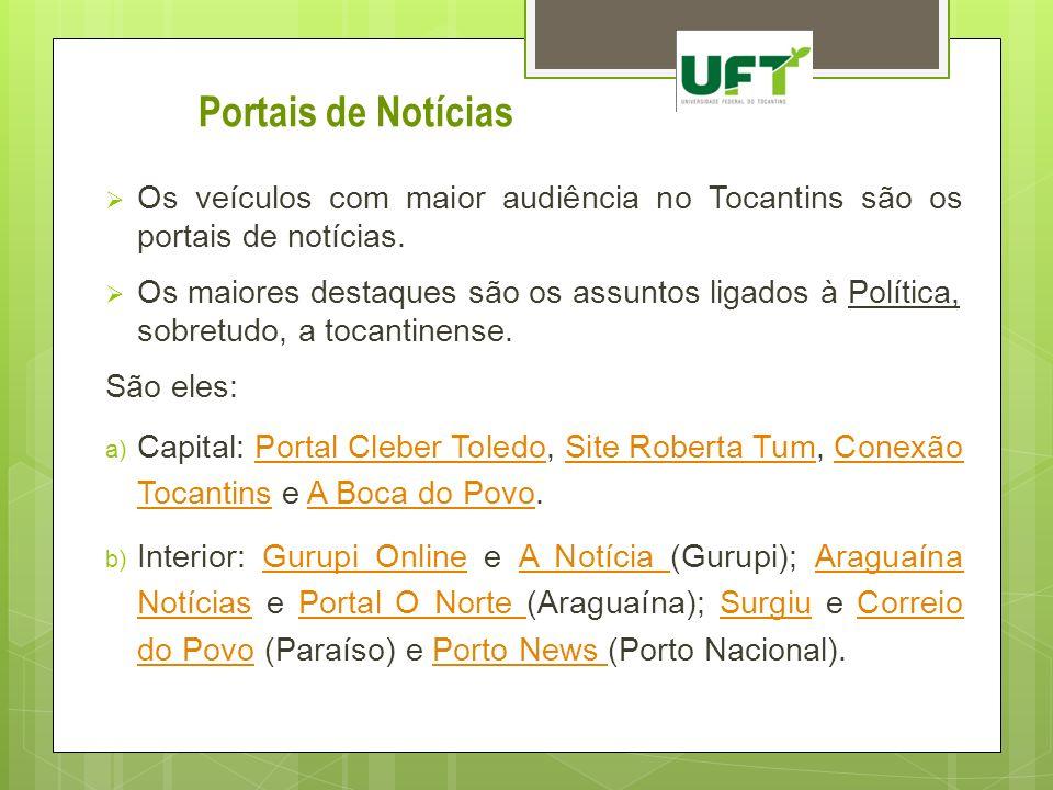 Portais de Notícias Os veículos com maior audiência no Tocantins são os portais de notícias.