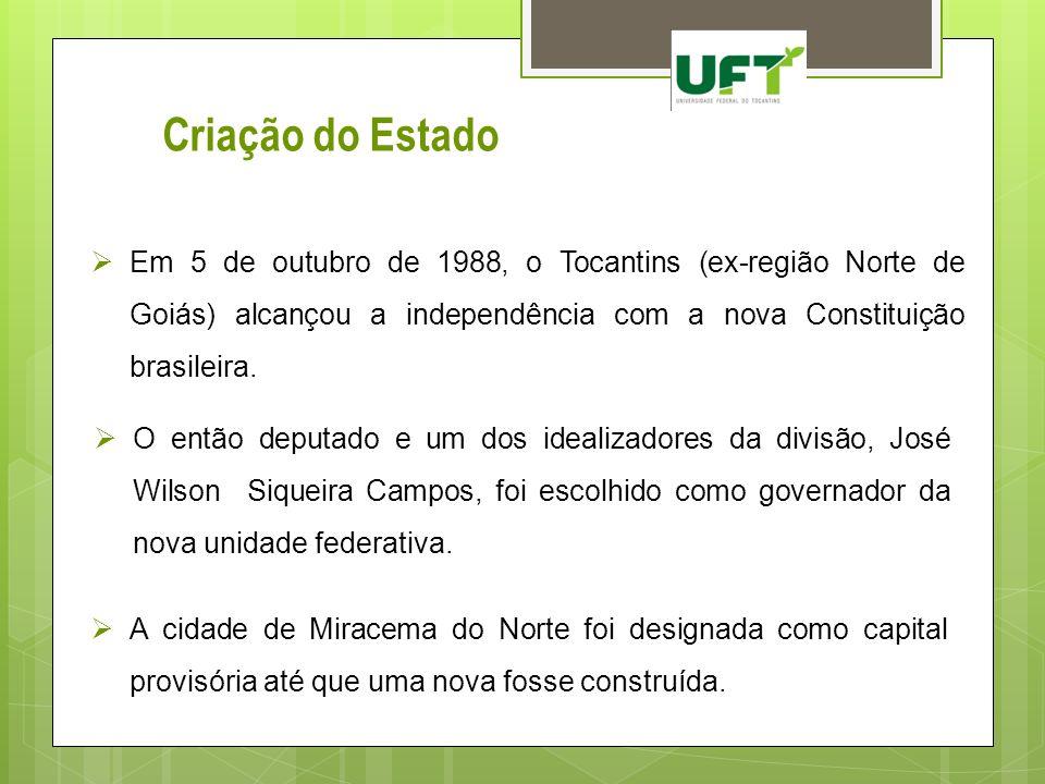 Criação do Estado Em 5 de outubro de 1988, o Tocantins (ex-região Norte de Goiás) alcançou a independência com a nova Constituição brasileira.