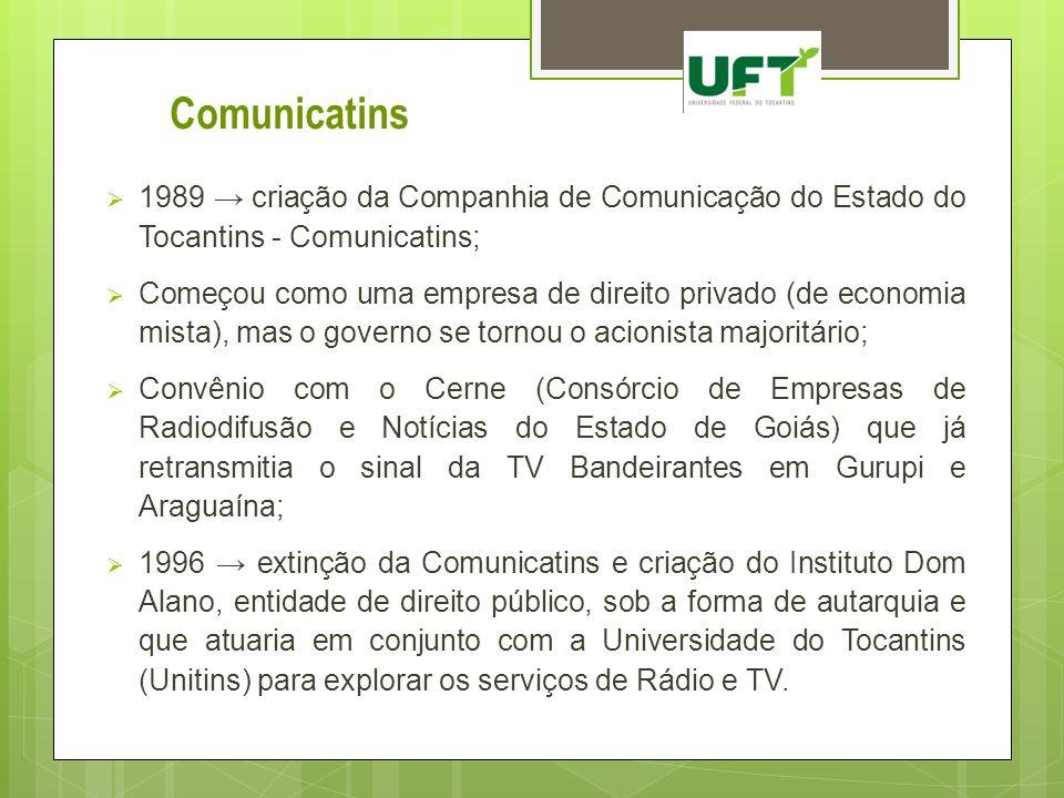 Comunicatins 1989 → criação da Companhia de Comunicação do Estado do Tocantins - Comunicatins;