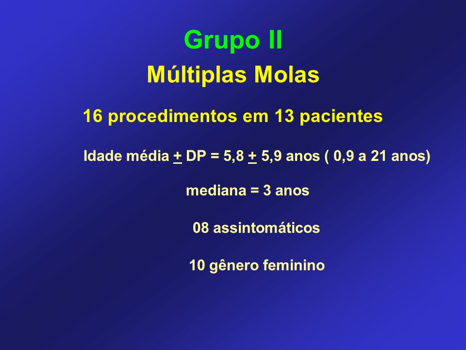 Grupo II Múltiplas Molas 16 procedimentos em 13 pacientes