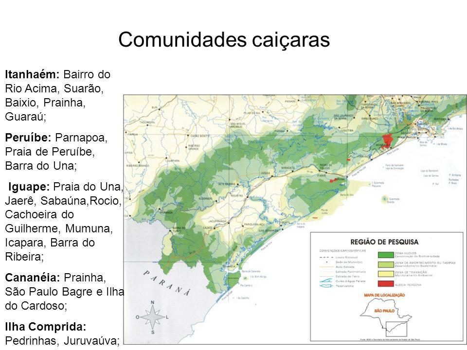 Comunidades caiçaras Itanhaém: Bairro do Rio Acima, Suarão, Baixio, Prainha, Guaraú; Peruíbe: Parnapoa, Praia de Peruíbe, Barra do Una;