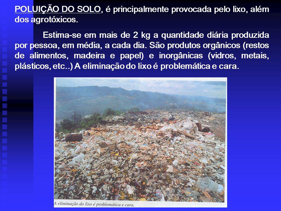 POLUIÇÃO DO SOLO, é principalmente provocada pelo lixo, além dos agrotóxicos.