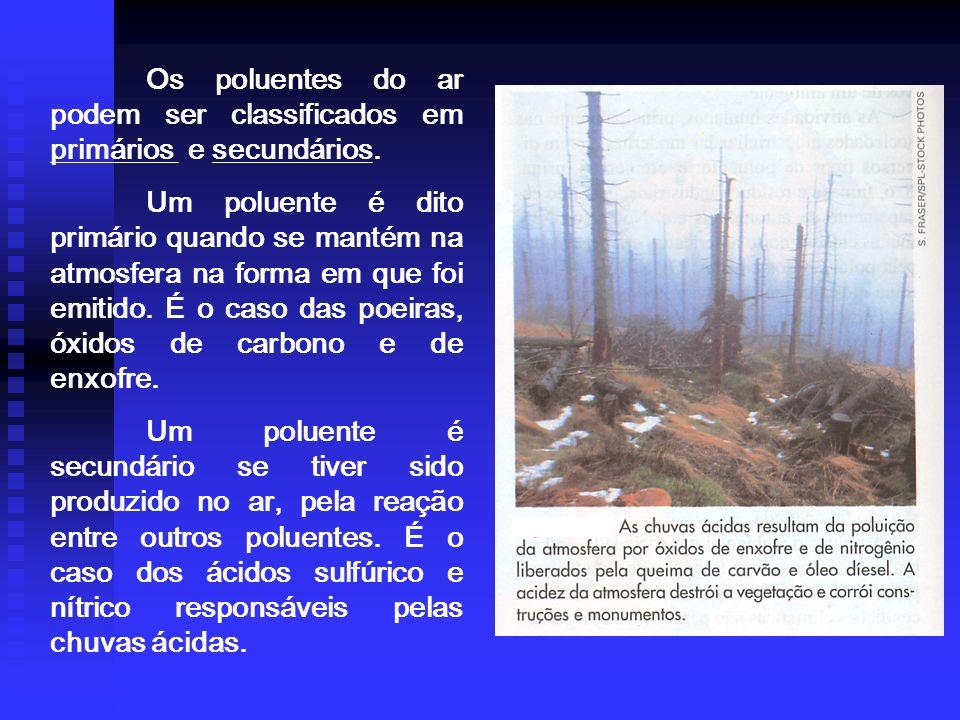Os poluentes do ar podem ser classificados em primários e secundários.