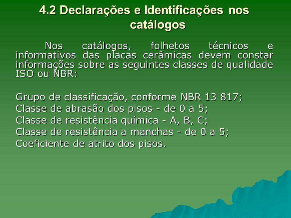 4.2 Declarações e Identificações nos catálogos