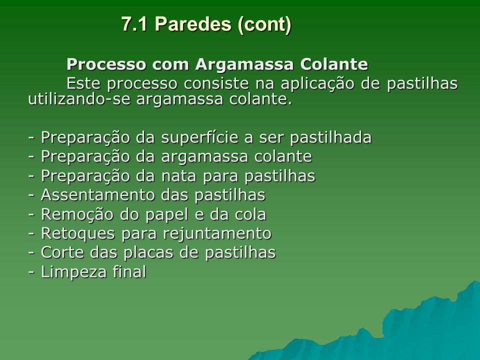 7.1 Paredes (cont) Processo com Argamassa Colante