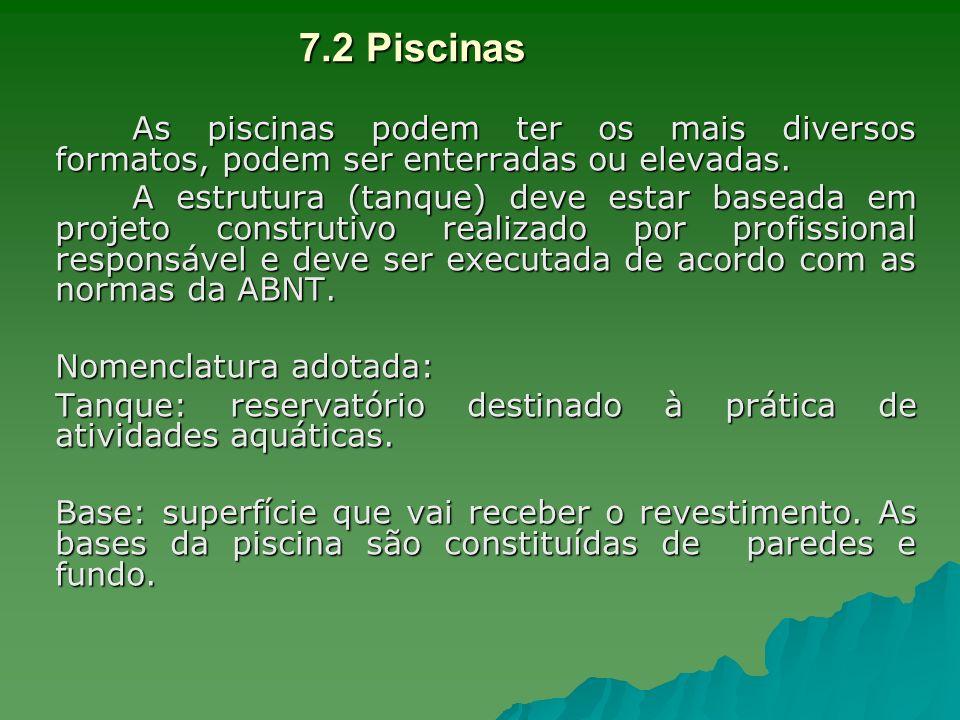 7.2 PiscinasAs piscinas podem ter os mais diversos formatos, podem ser enterradas ou elevadas.