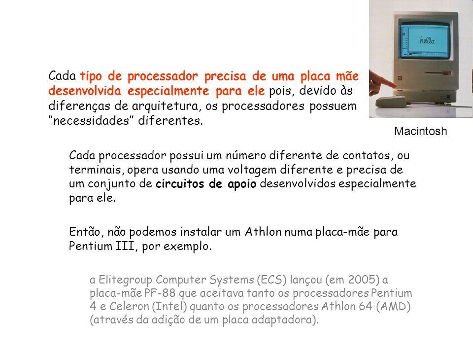 Cada tipo de processador precisa de uma placa mãe desenvolvida especialmente para ele pois, devido às diferenças de arquitetura, os processadores possuem necessidades diferentes.