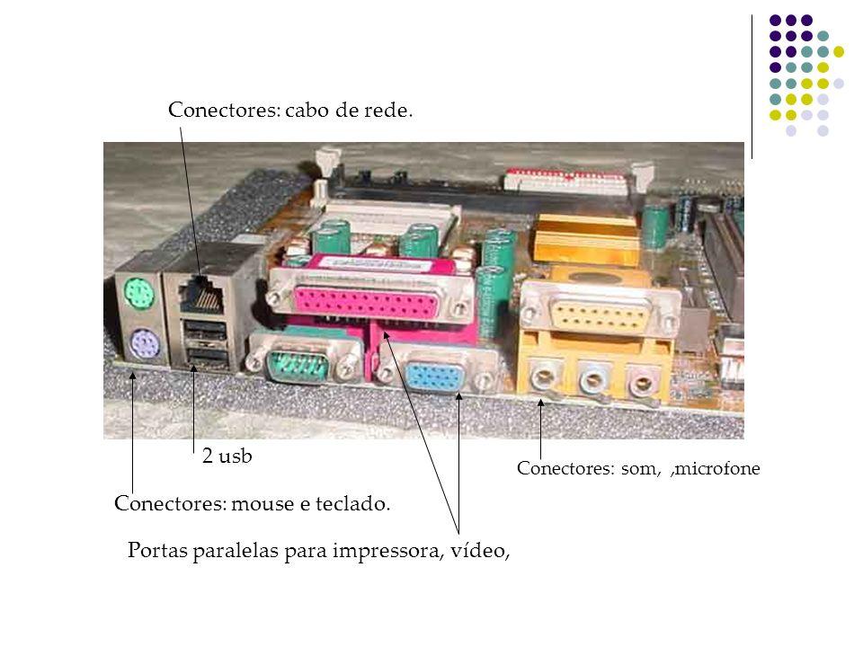 Conectores: cabo de rede.