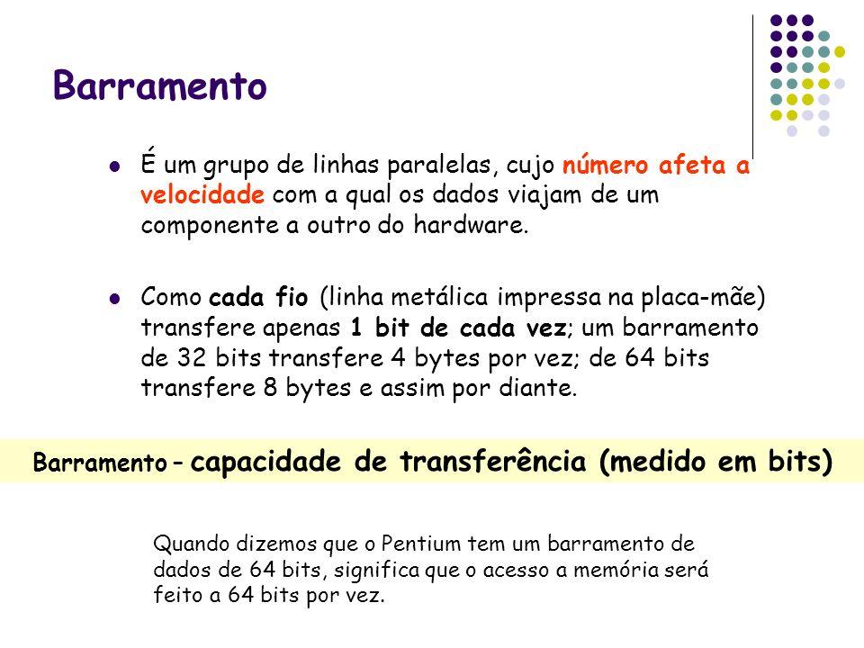 Barramento – capacidade de transferência (medido em bits)