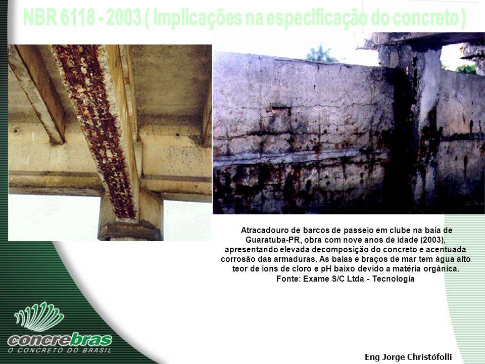 Atracadouro de barcos de passeio em clube na baia de Guaratuba-PR, obra com nove anos de idade (2003), apresentando elevada decomposição do concreto e acentuada corrosão das armaduras.