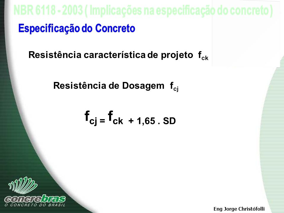 fcj = fck + 1,65 . SD Especificação do Concreto