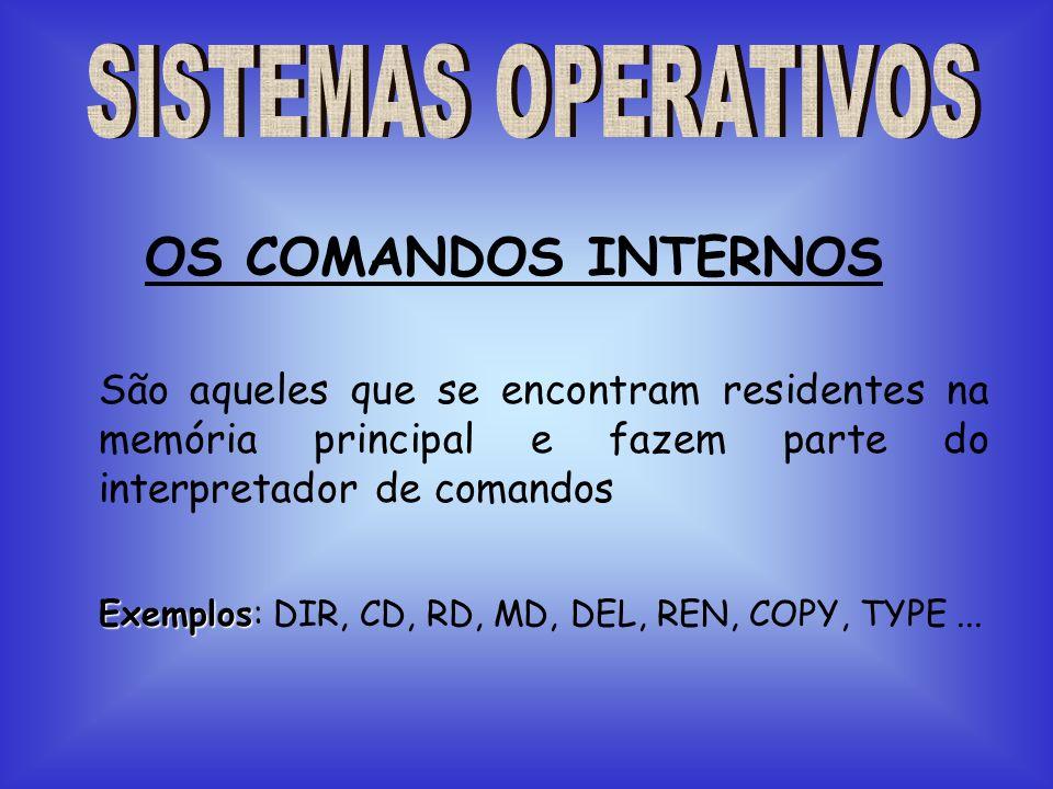 SISTEMAS OPERATIVOSOS COMANDOS INTERNOS. São aqueles que se encontram residentes na memória principal e fazem parte do interpretador de comandos.