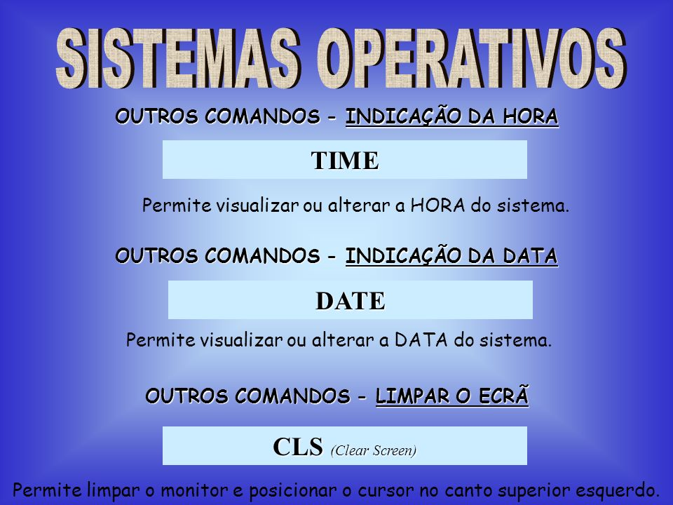 TIME DATE CLS (Clear Screen) SISTEMAS OPERATIVOS