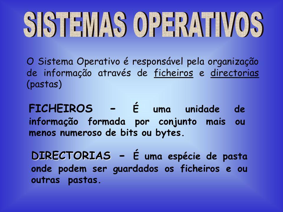 SISTEMAS OPERATIVOS O Sistema Operativo é responsável pela organização de informação através de ficheiros e directorias (pastas)