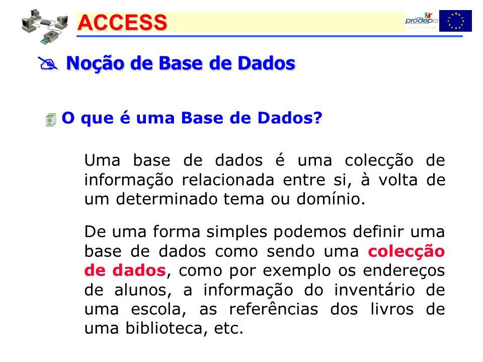  Noção de Base de Dados  O que é uma Base de Dados