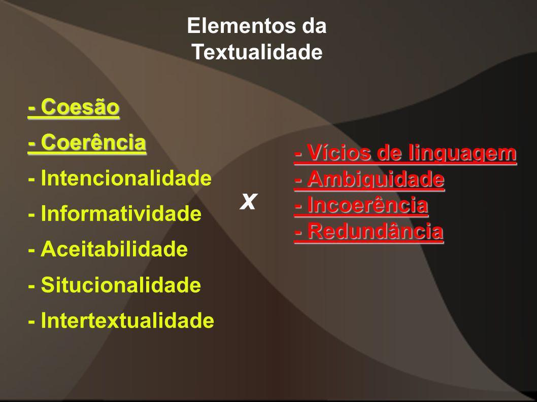 - Vícios de linguagem - Ambiguidade - Incoerência - Redundância