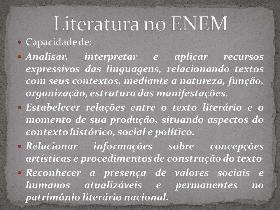 Literatura no ENEM Capacidade de: