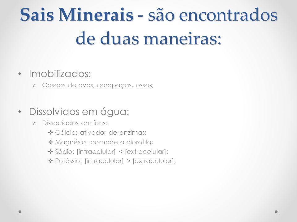 Sais Minerais - são encontrados de duas maneiras: